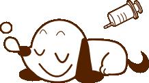 麻酔で眠る犬